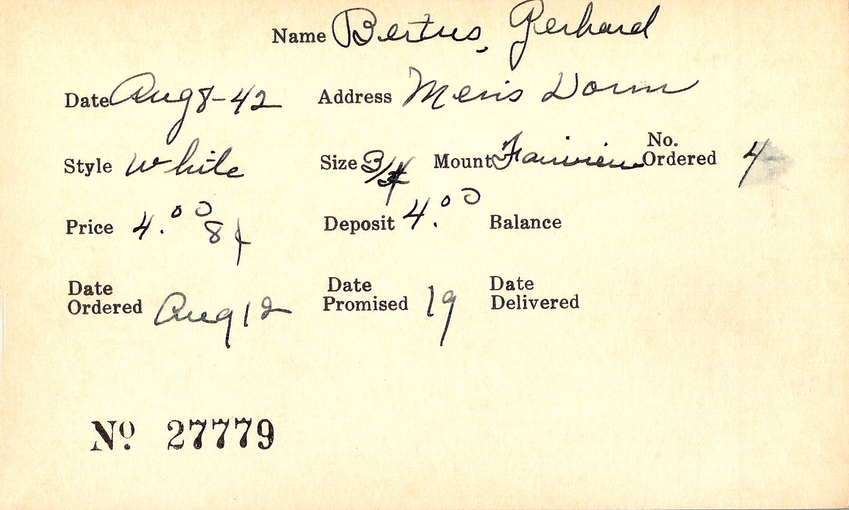 Index card for Gerhard Bertus