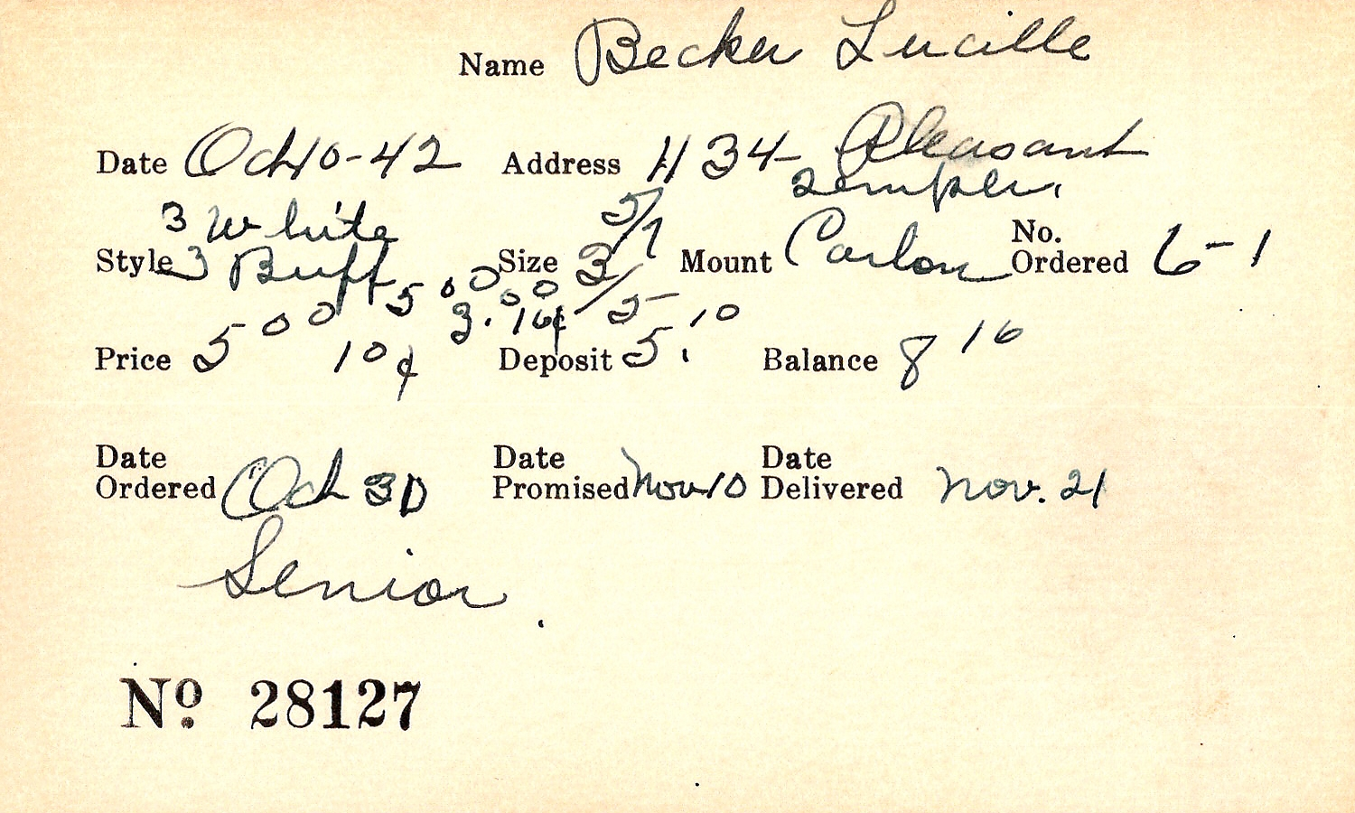 Index card for Lucille Becker