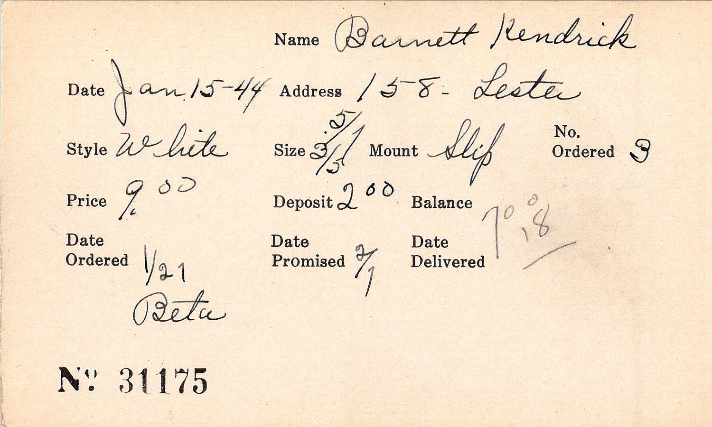 Index card for Kendrick Barnett