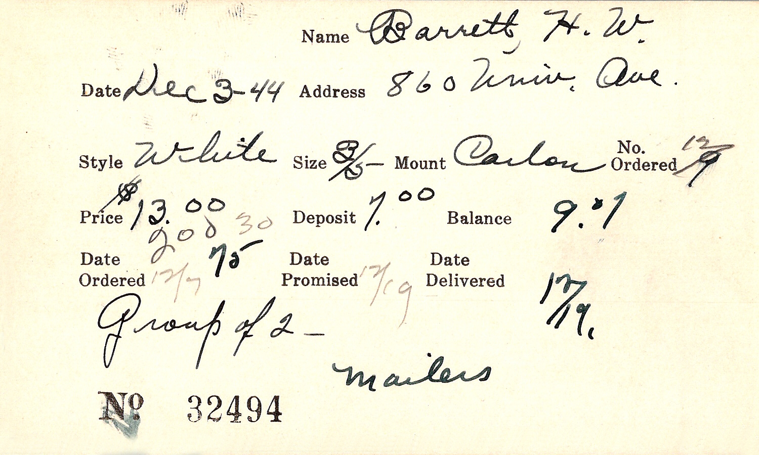 Index card for H. W. Barrett