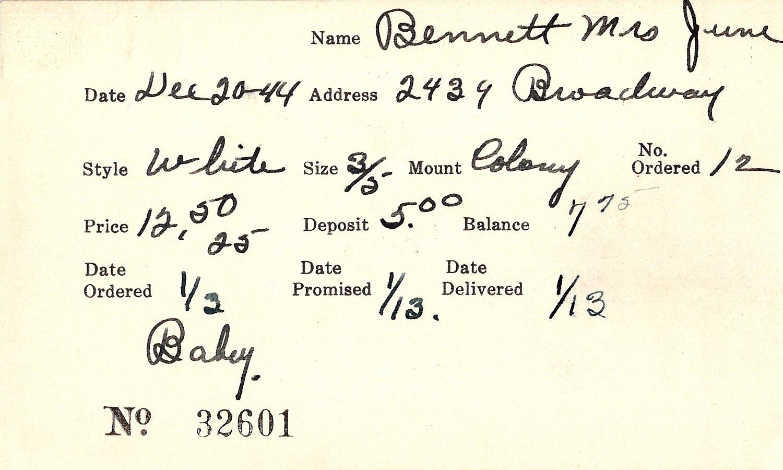 Index card for June Bennett