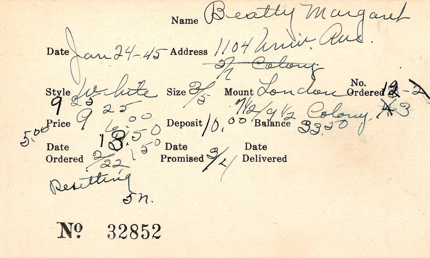 Index card for Margaret Beatty
