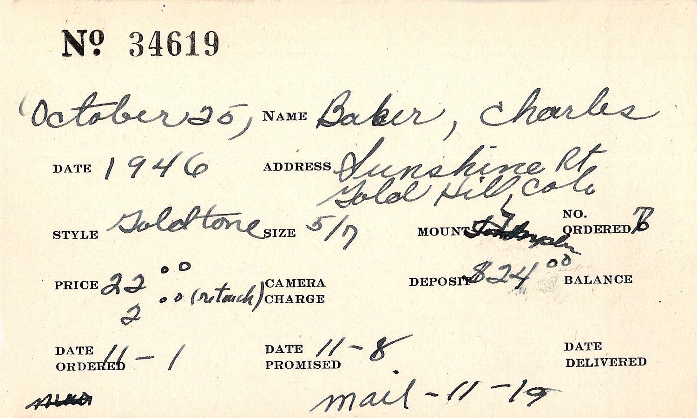 Index card for Charles Baker