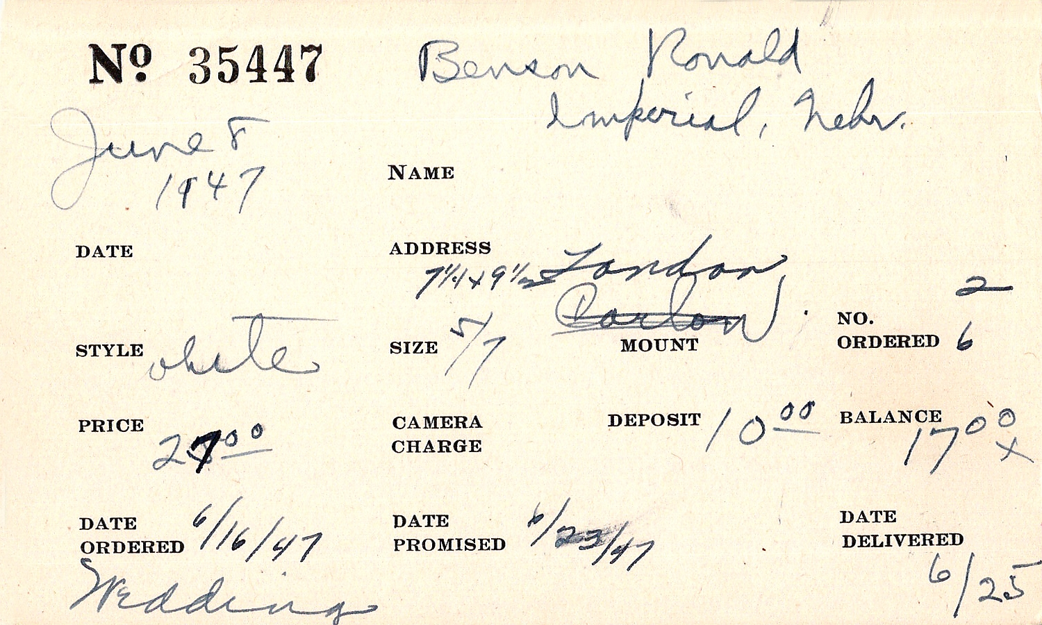 Index card for Ronald Benson