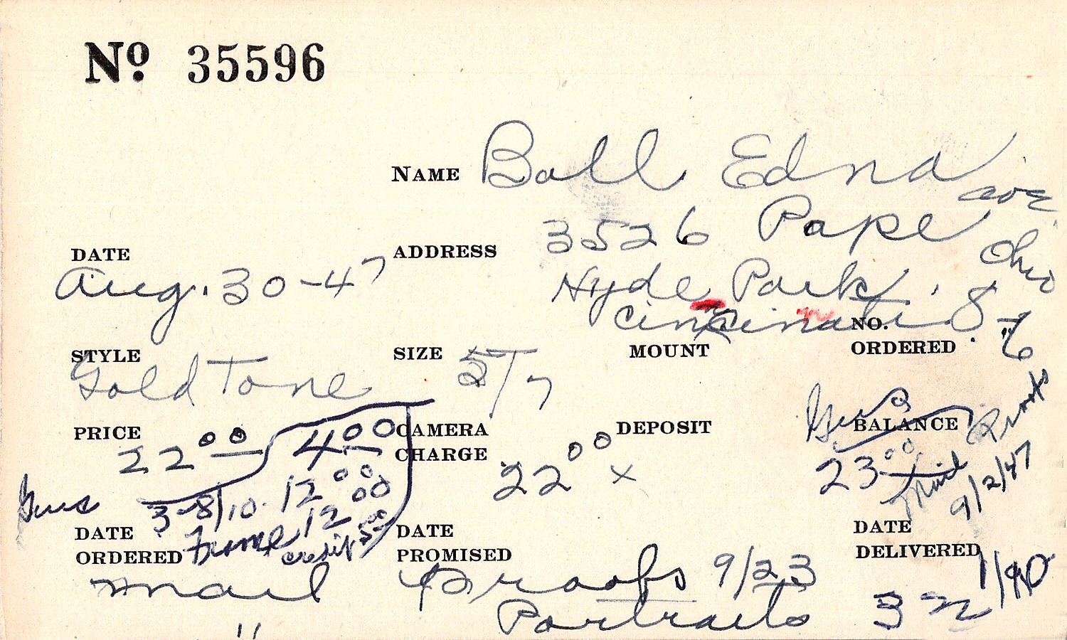 Index card for Edna Ball