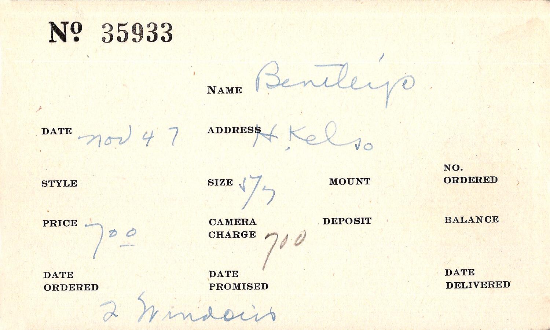 Index card for Bentley's