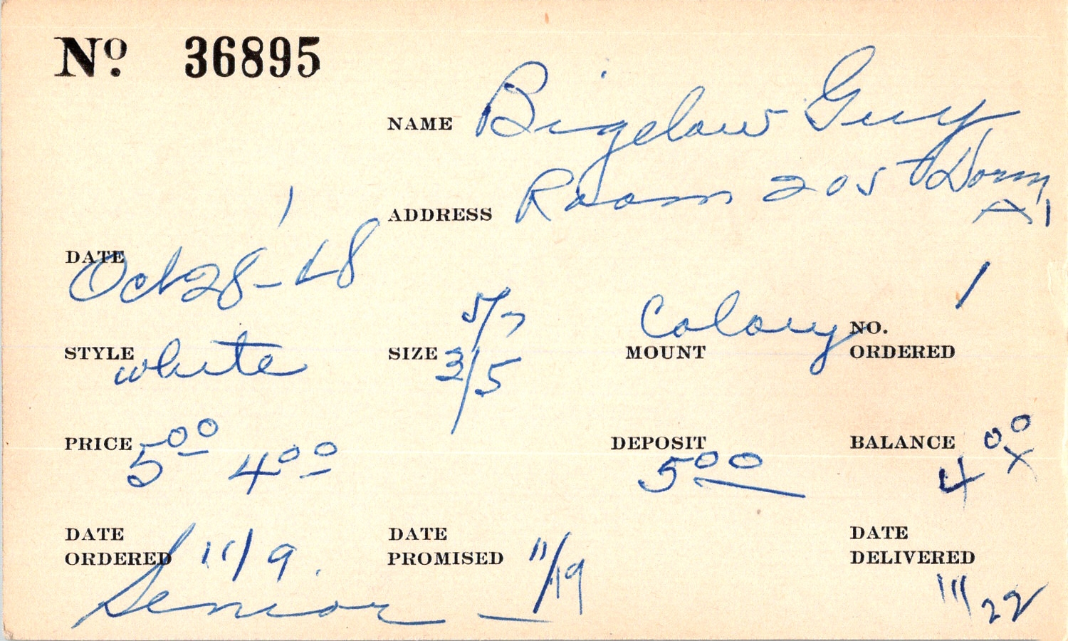 Index card for Guy Bigelow