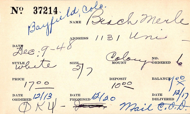 Index card for Merle Beach