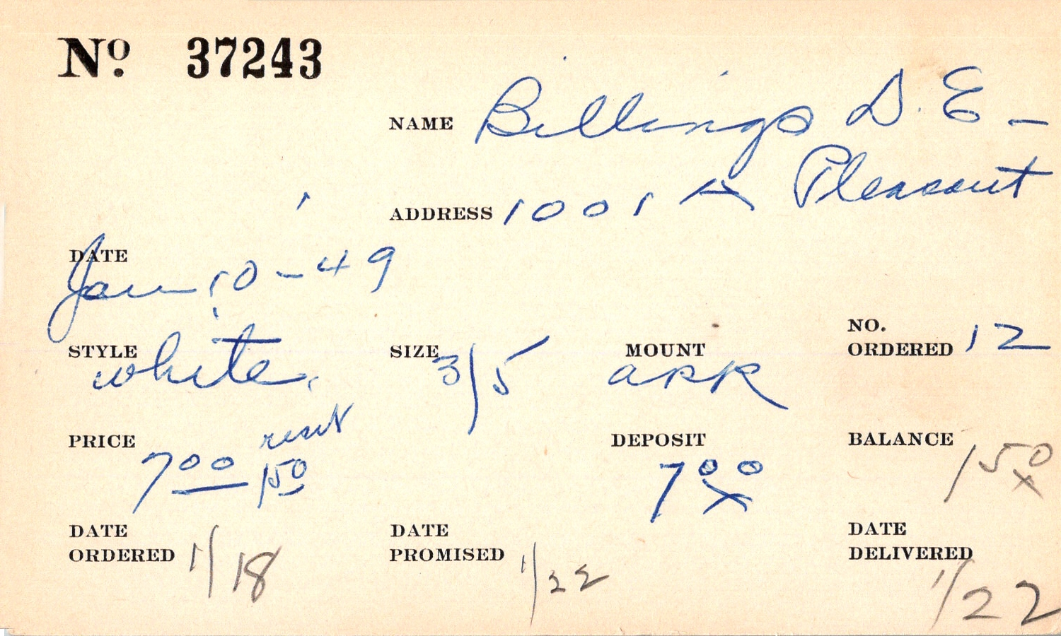 Index card for D. E. Billings