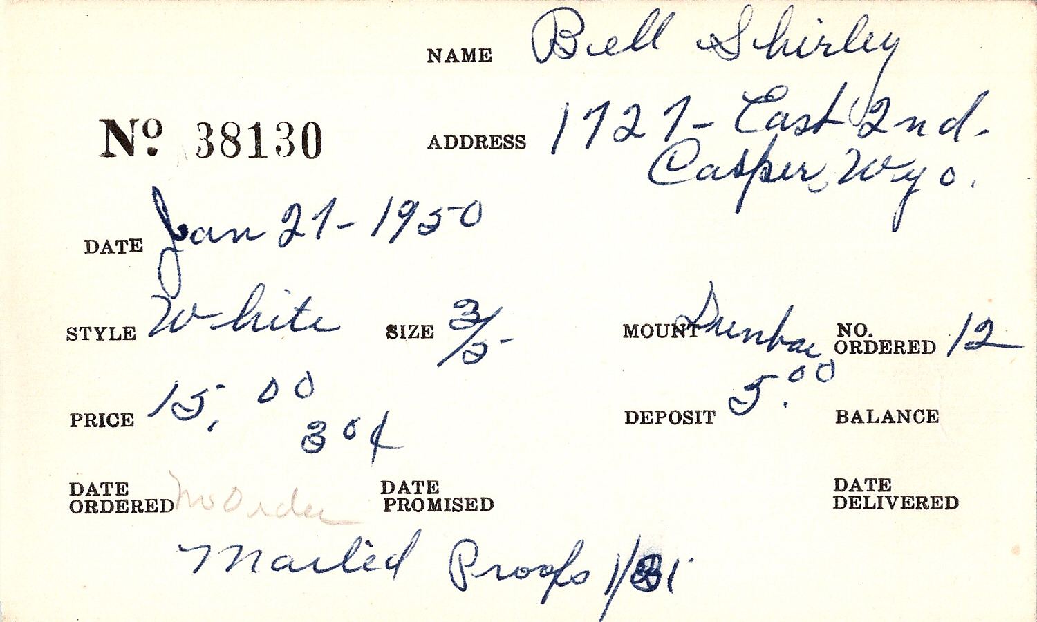 Index card for Shirley Bell