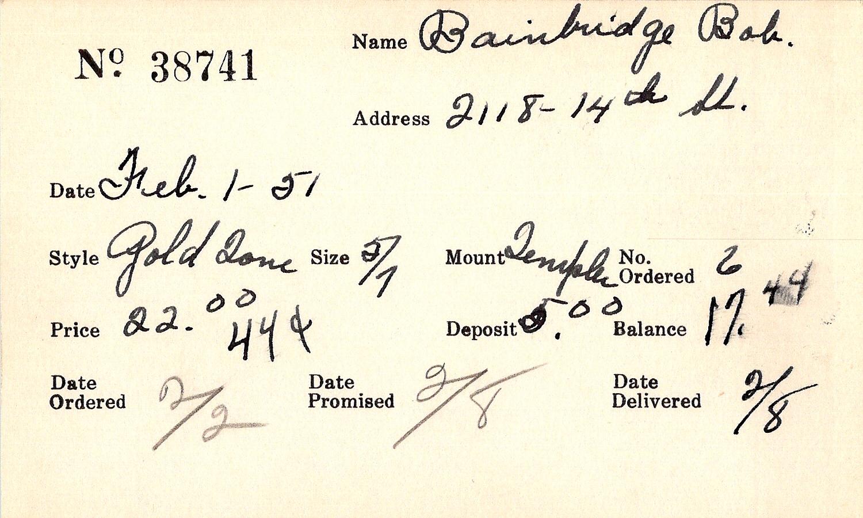 Index card for Bob Bainbridge