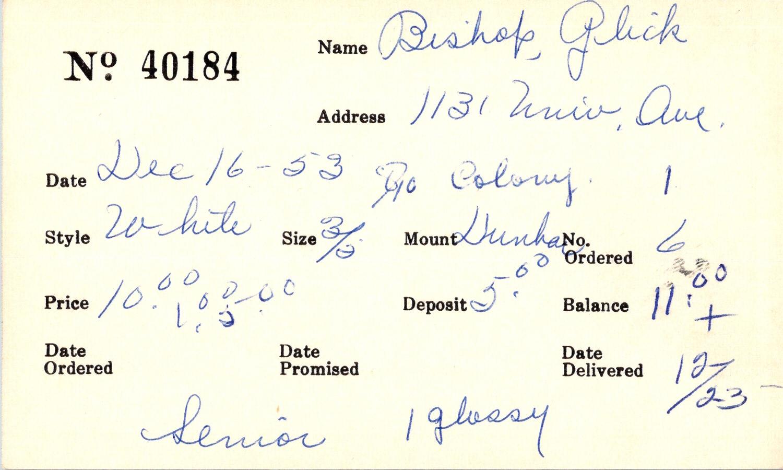Index card for Glick Bishop