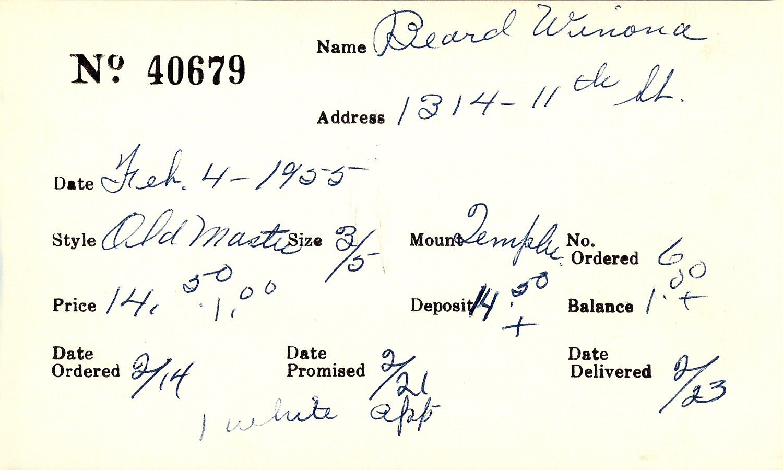 Index card for Winona Beard