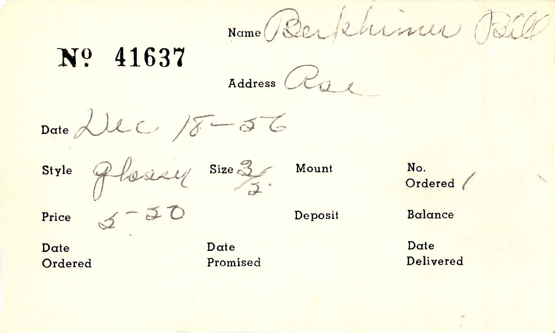 Index card for Bil Berkhimer