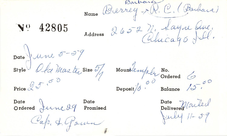 "Index card for R. C. ""Barbara"" Berrey"