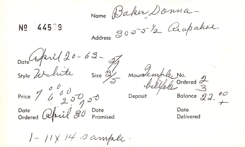 Index card for Donna Baker