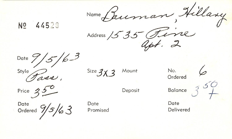 Index card for Hillary Bauman