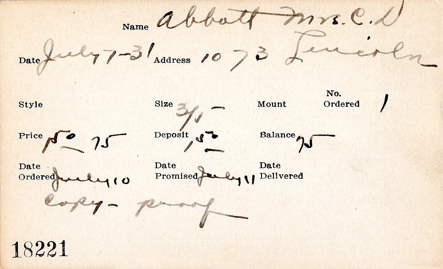 Index card for Mrs. C. D. Abbott