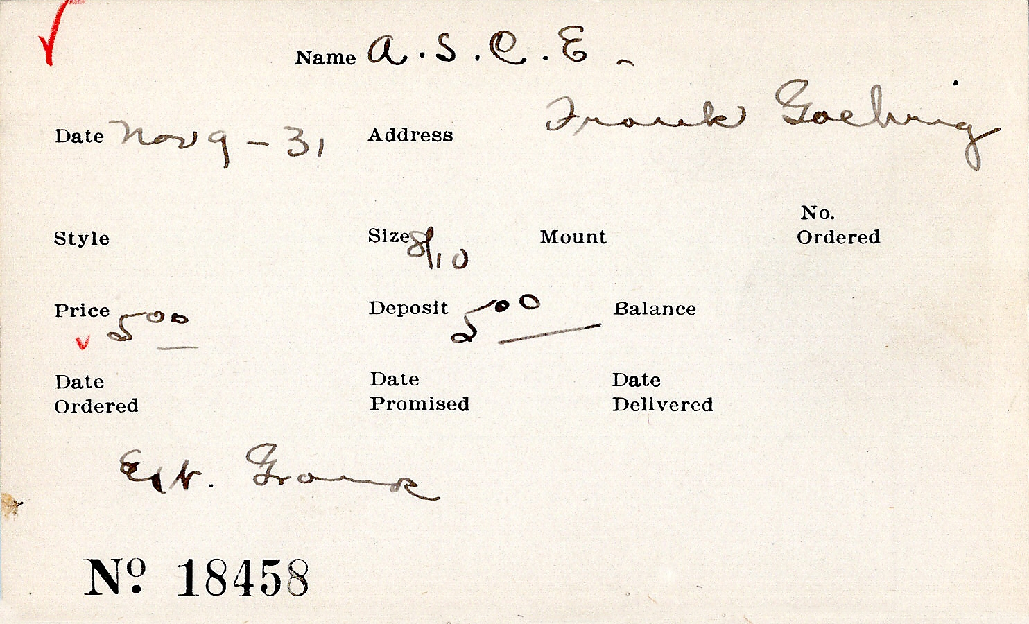 Index card for American Society of Civil Engineers