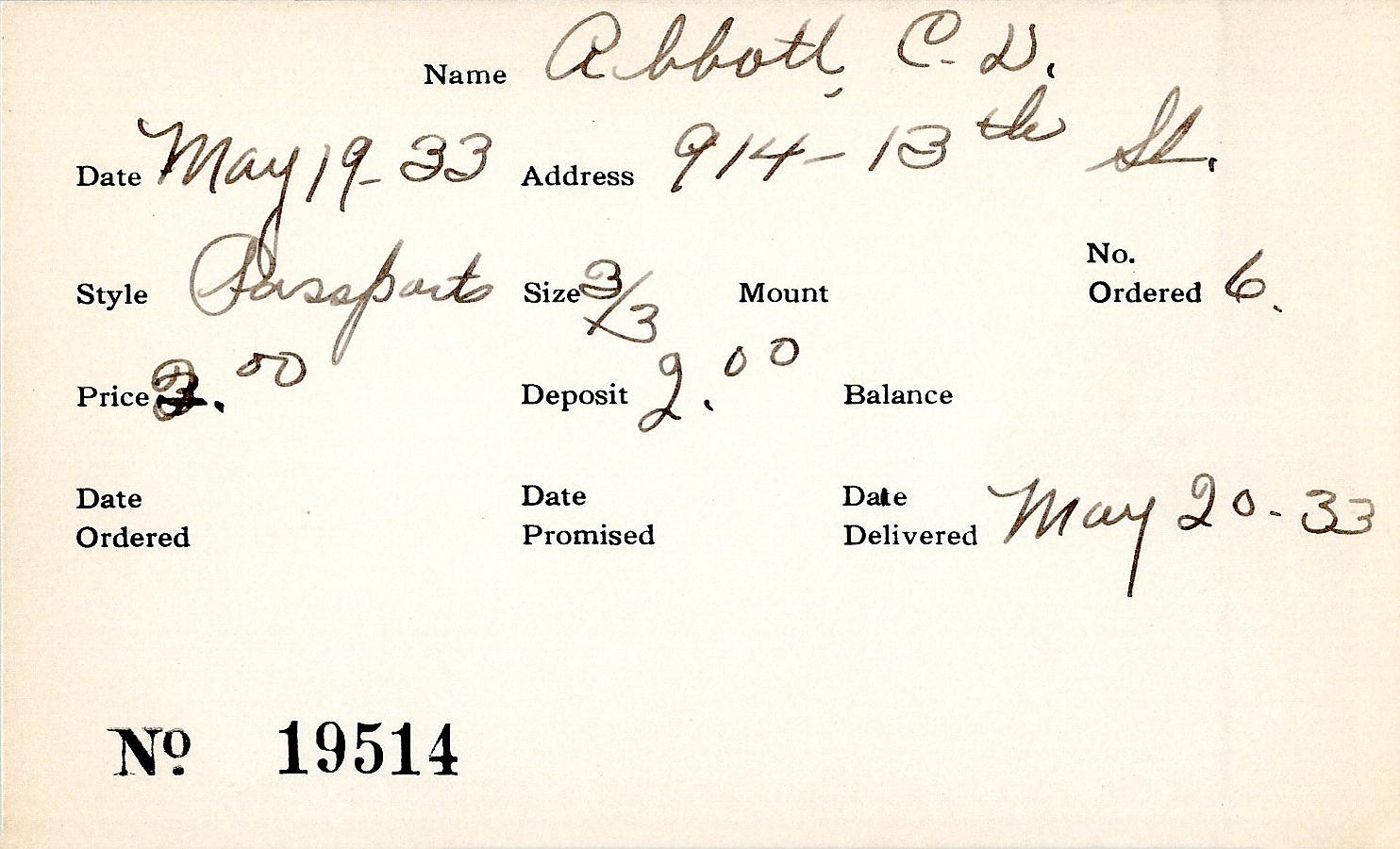 Index card for C. D. Abbott