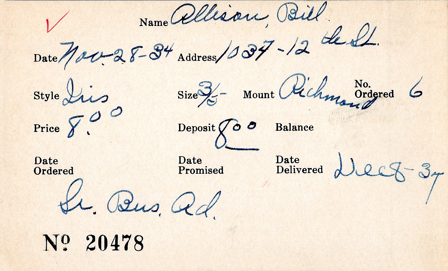 Index card for Bill Allison