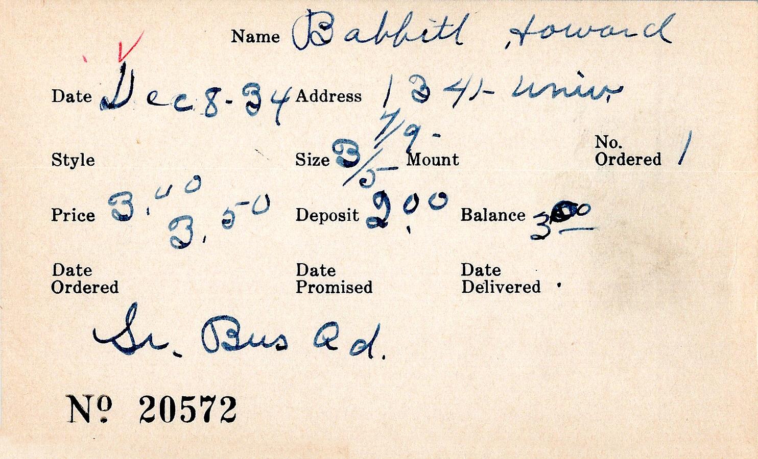 Index card for Howard Babbitt