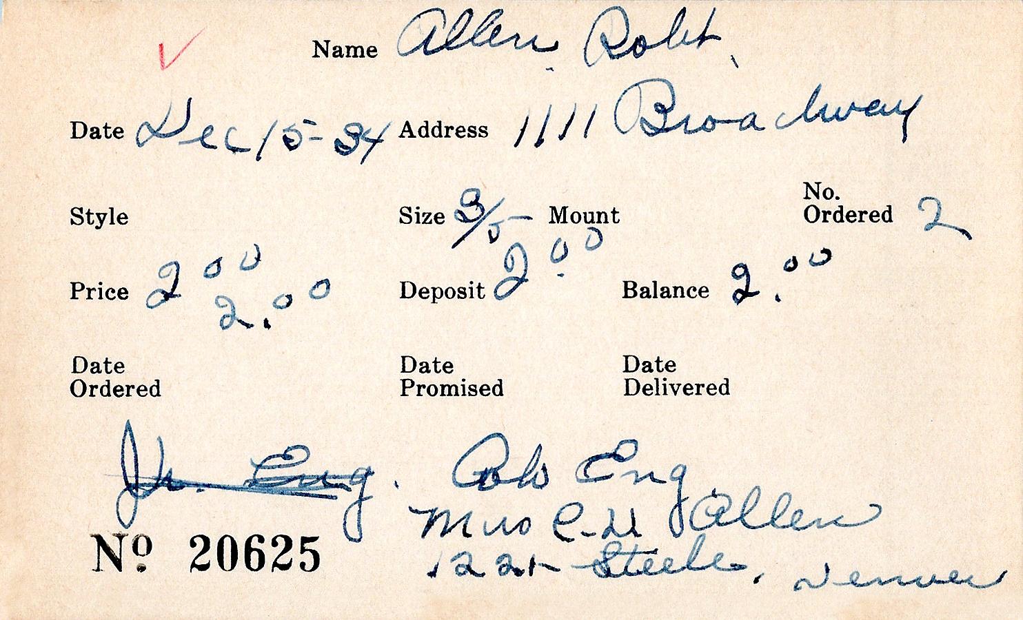 Index card for Robert Allen