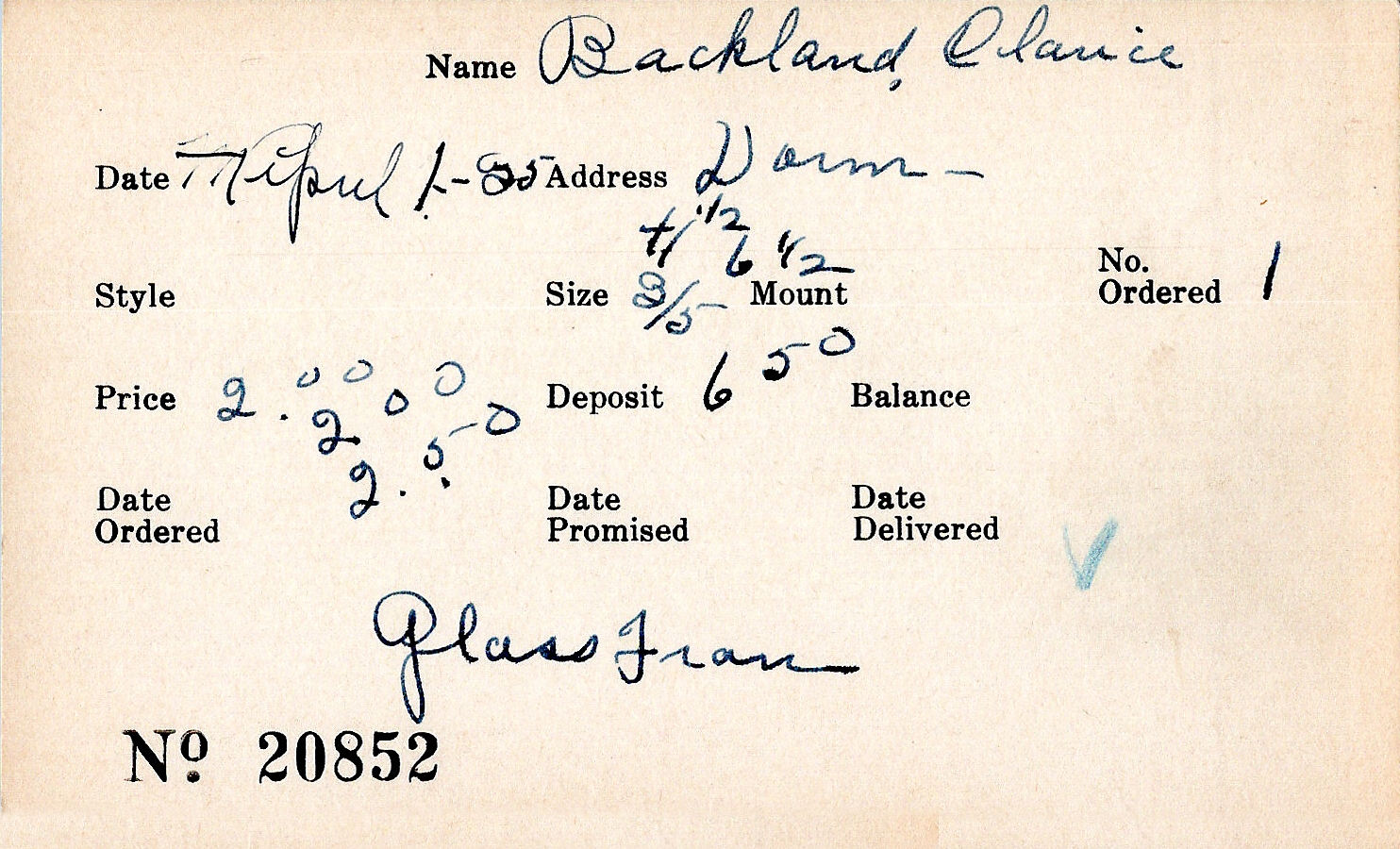 Index card for Clarice Backland