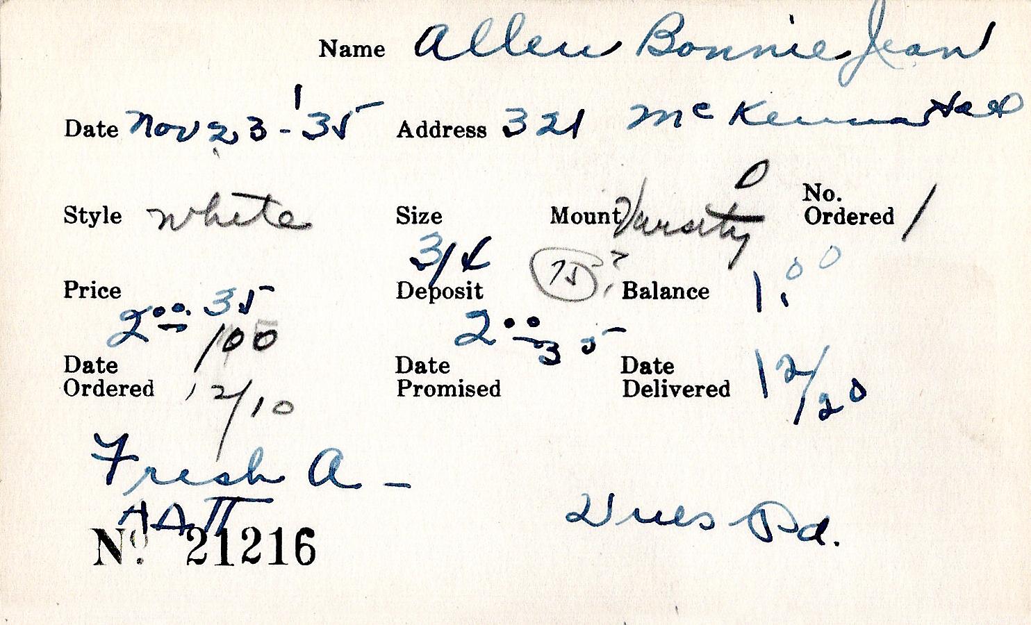 Index card for Bonnie Jean Allen