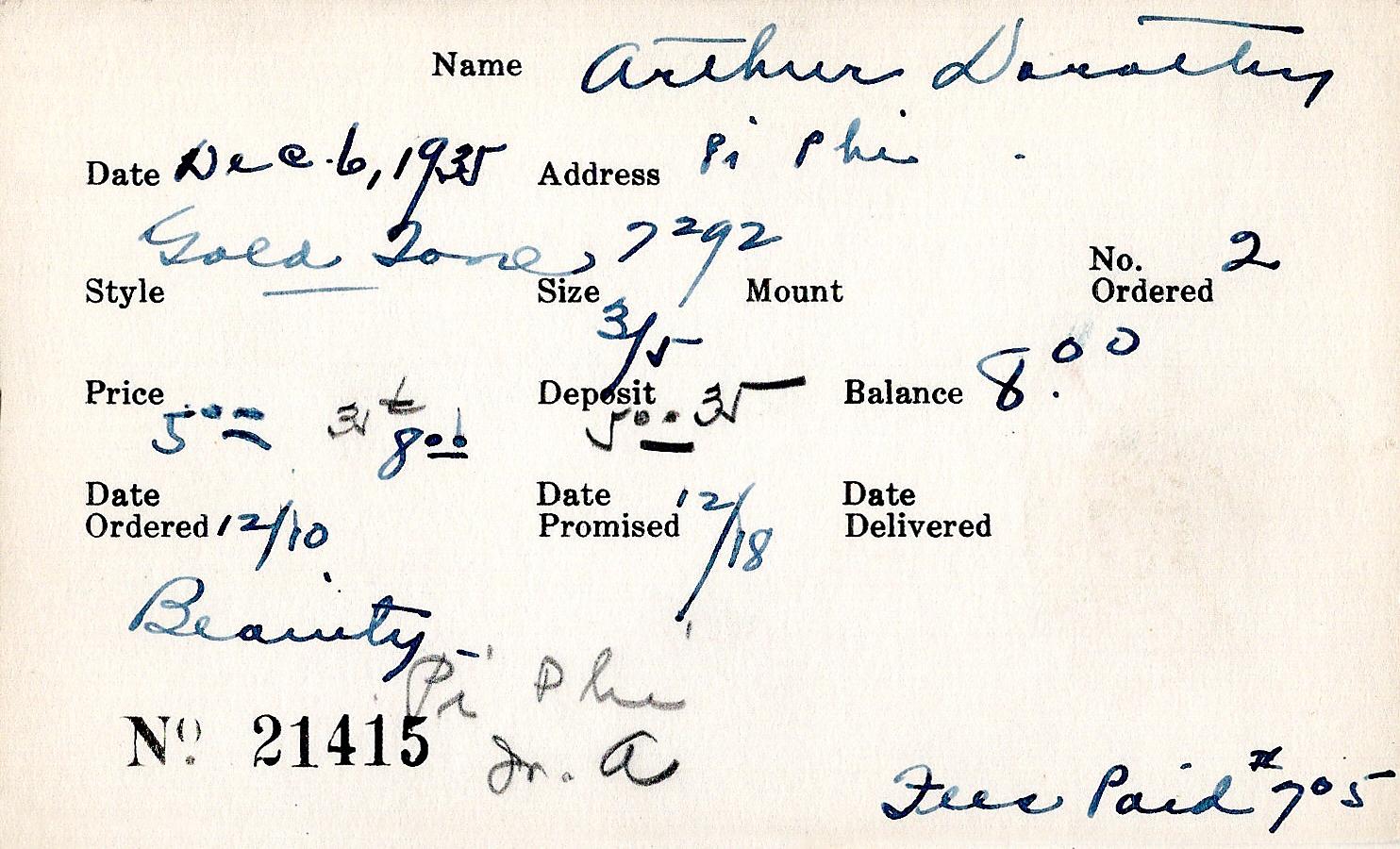 Index card for Dorothy Arthur
