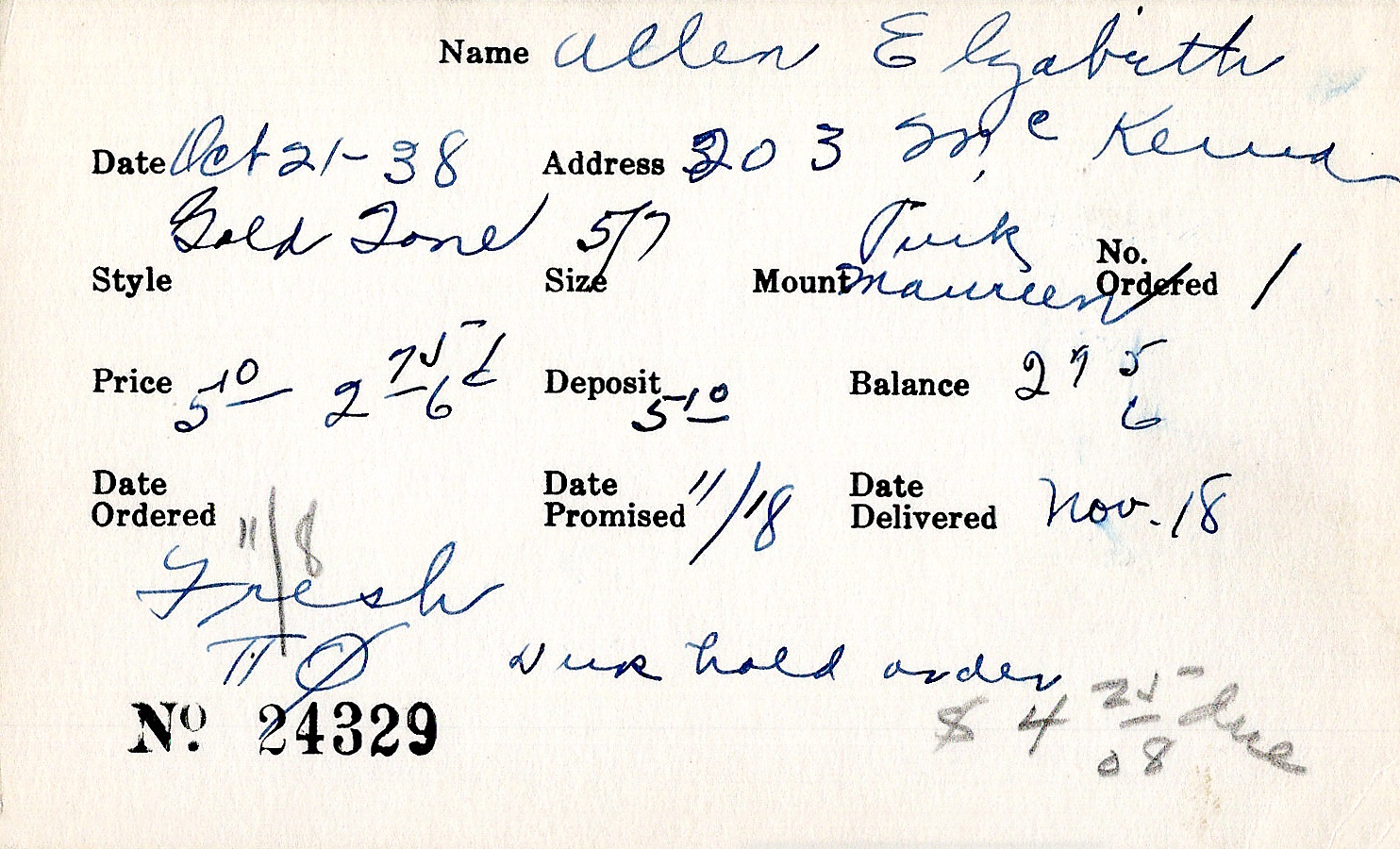 Index card for Elizabeth Allen