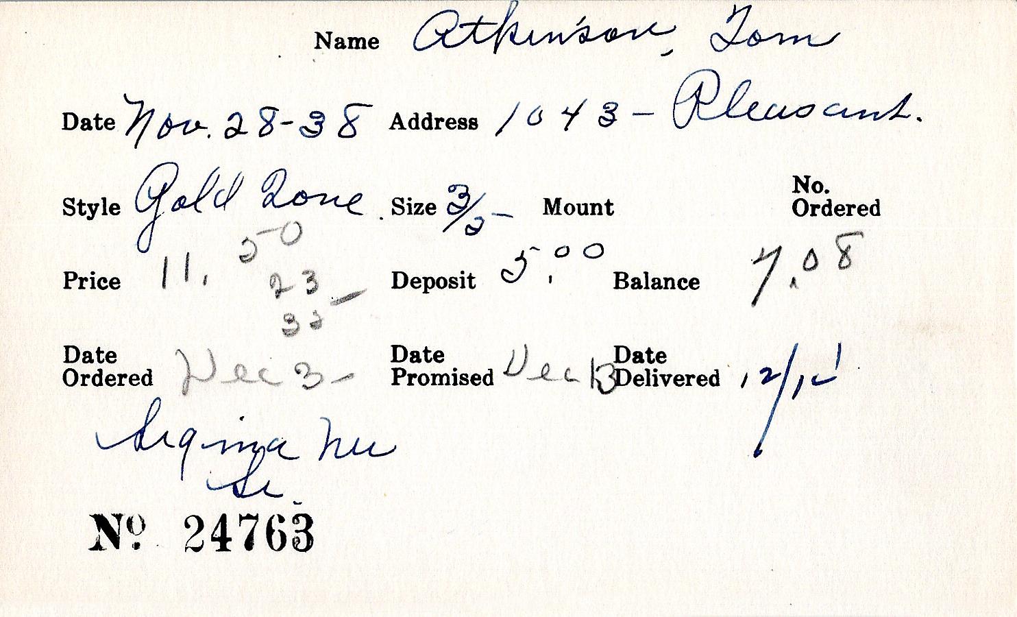 Index card for Tom Atkinson