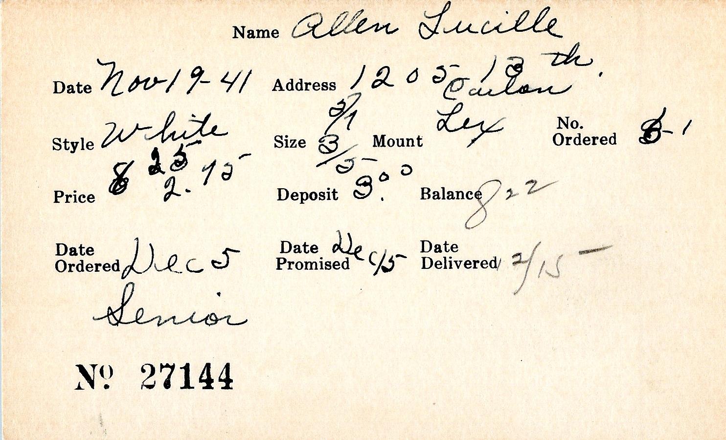 Index card for Lucille Allen