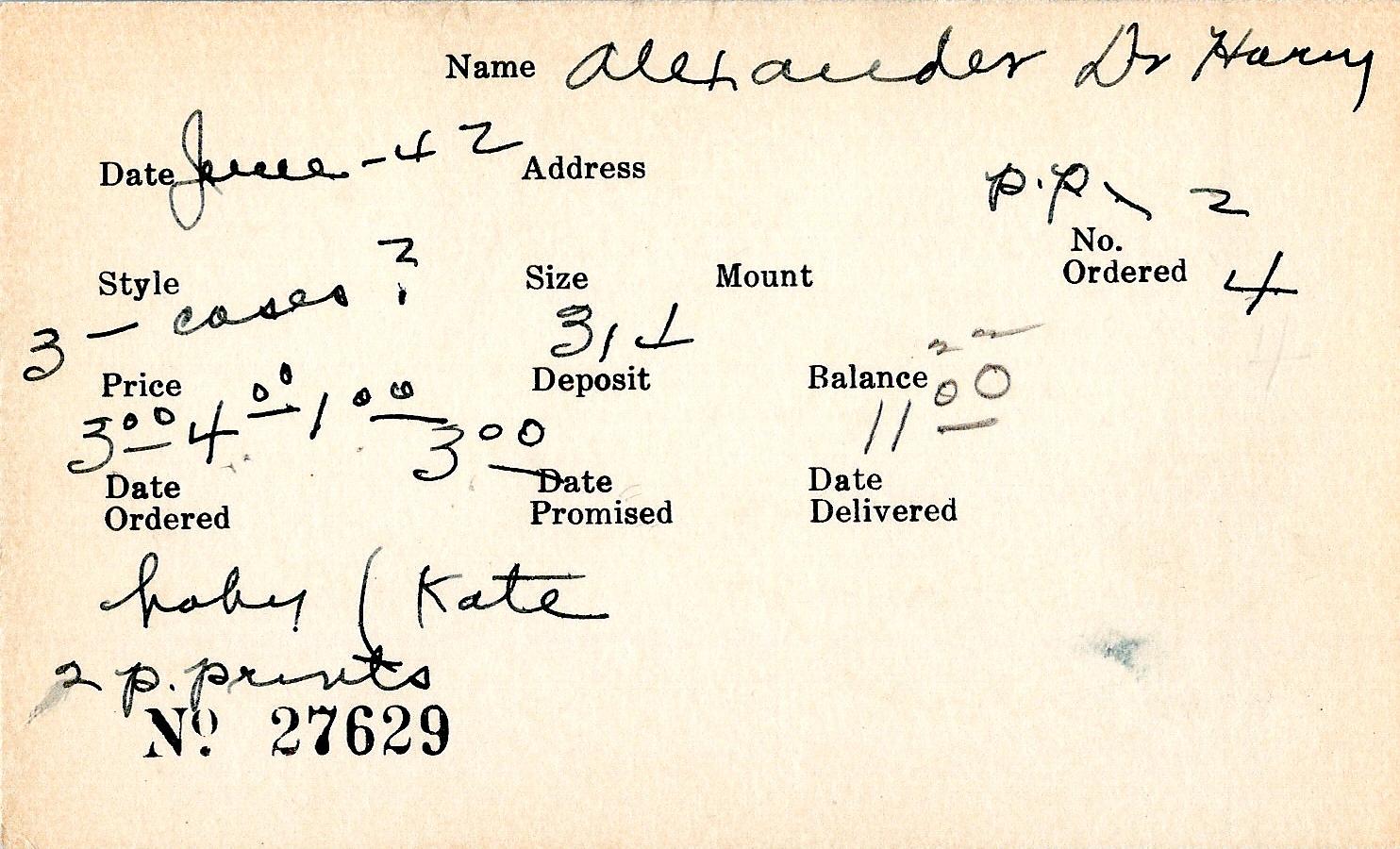 Index card for Harry Alexander
