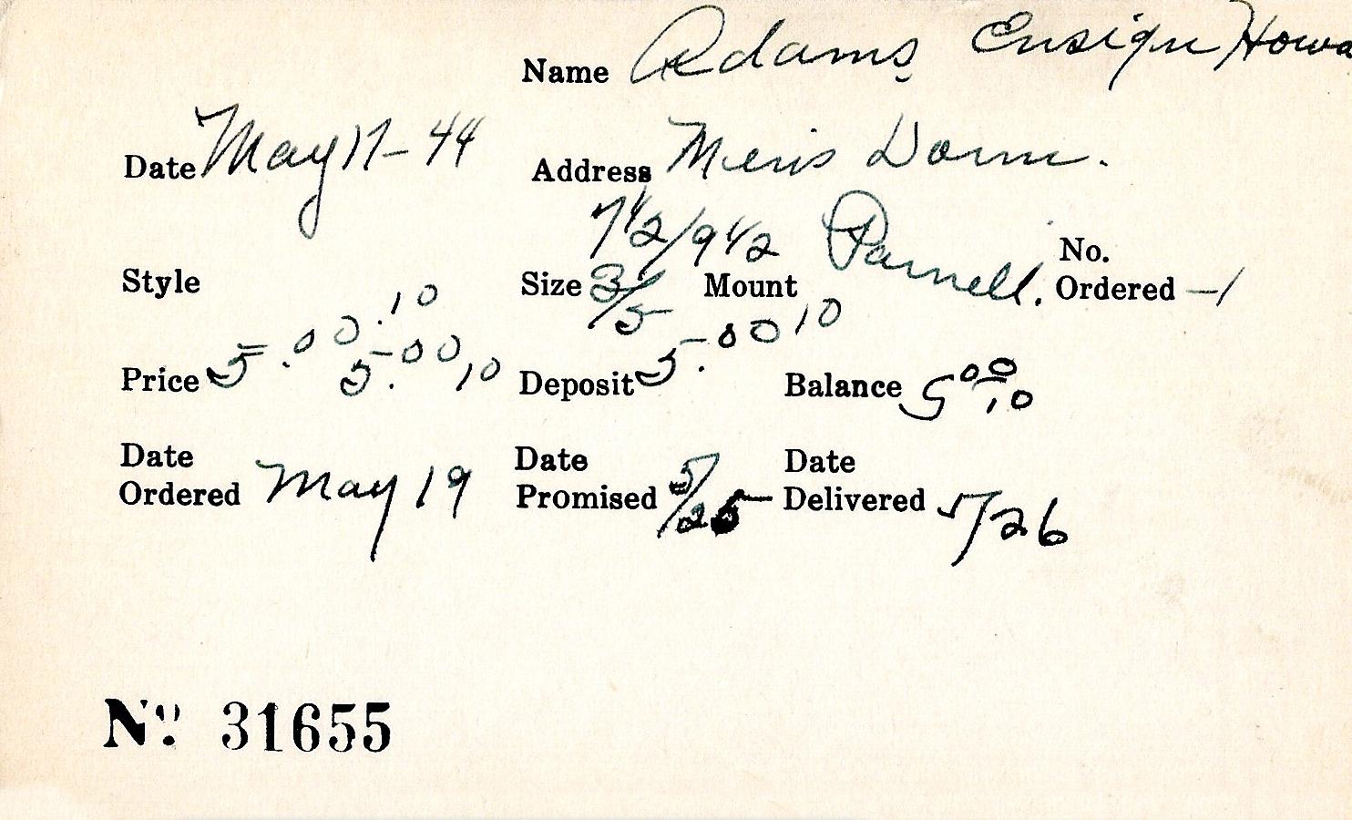Index card for Howard Adams