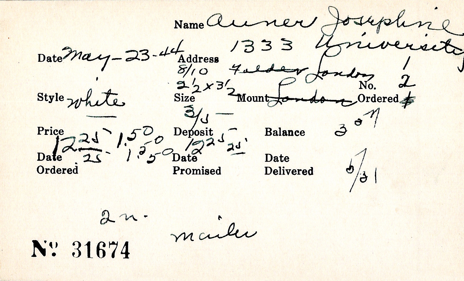 Index card for Josephine Auner