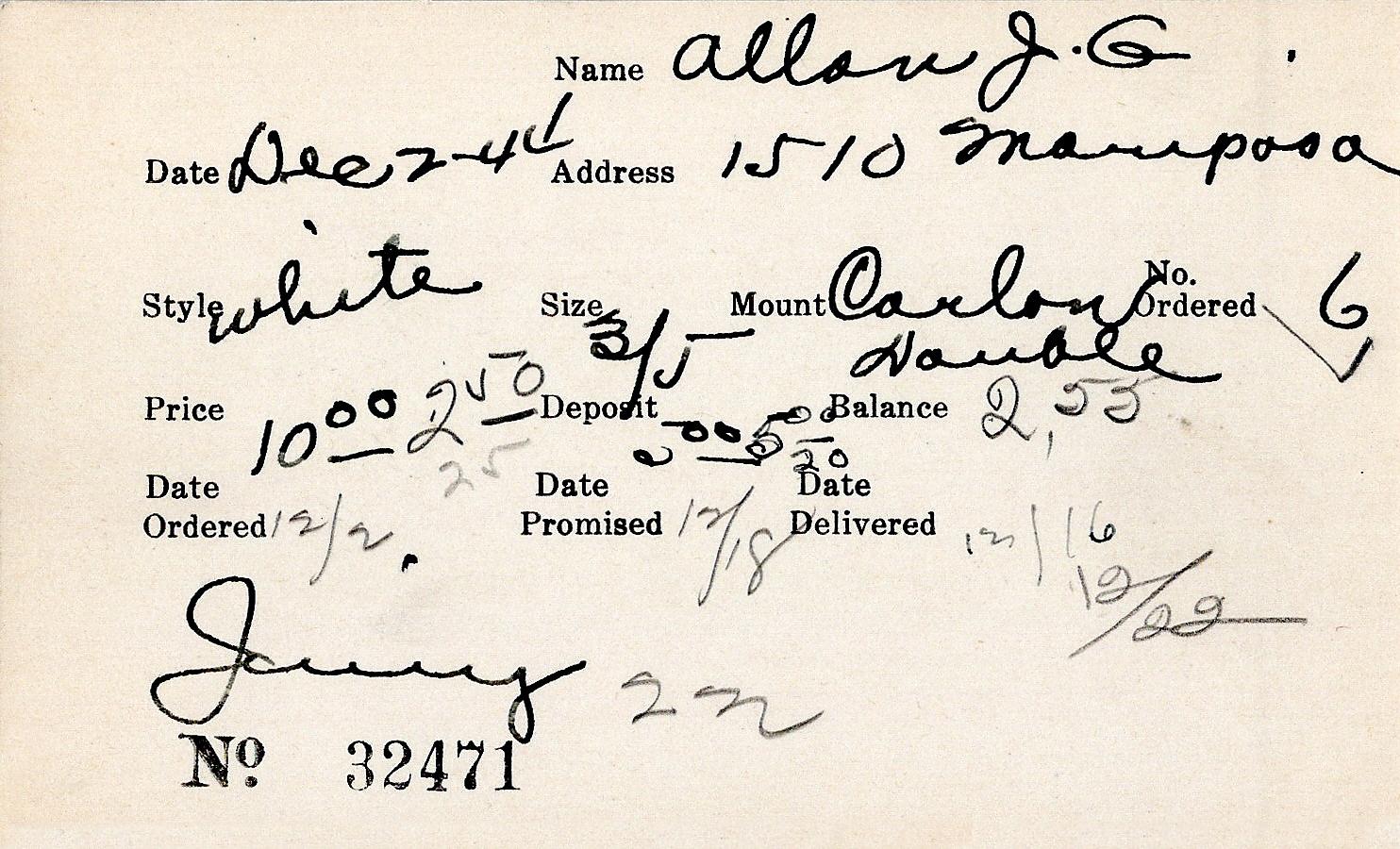 Index card for J. G. Allan