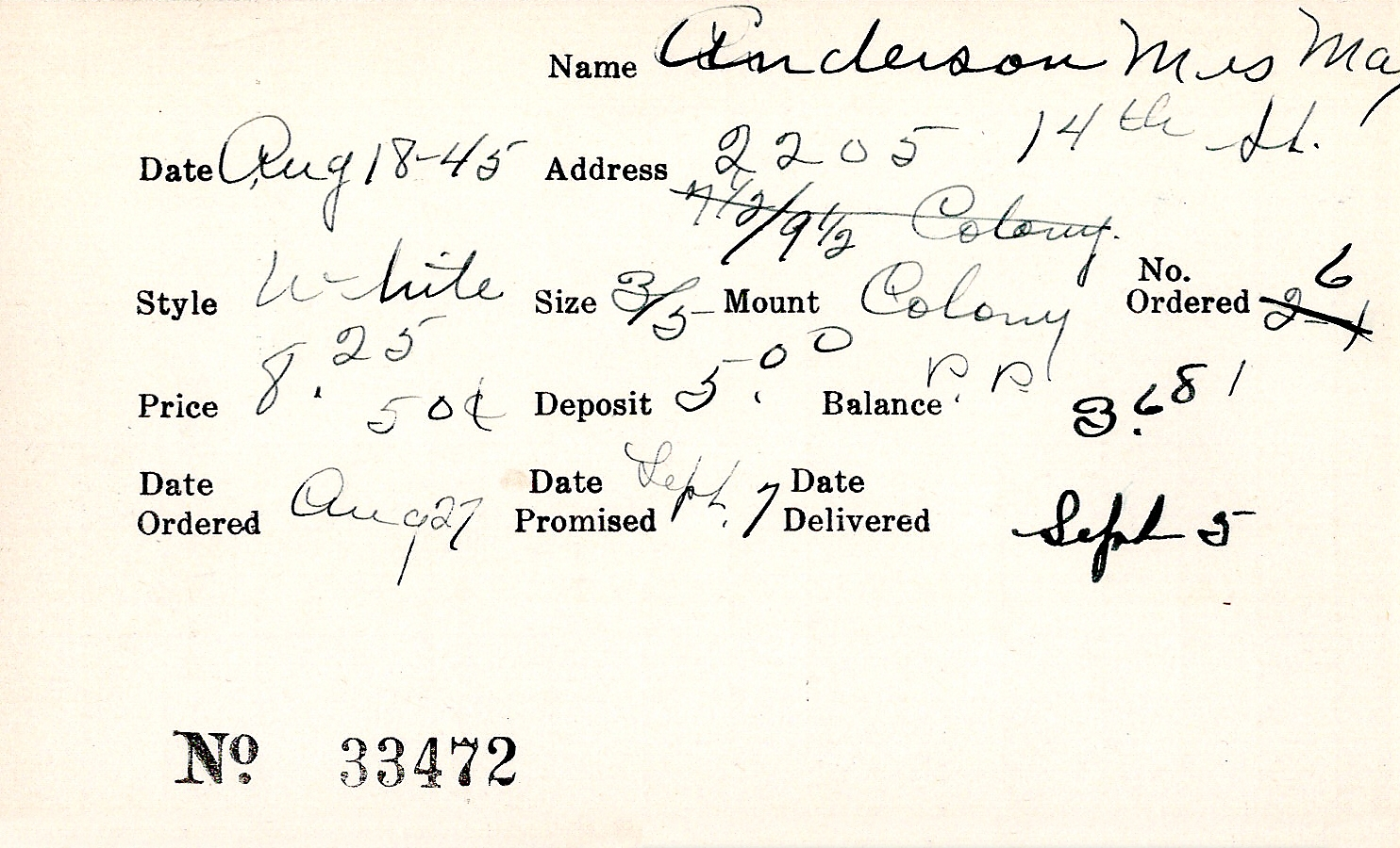 Index card for May Anderson