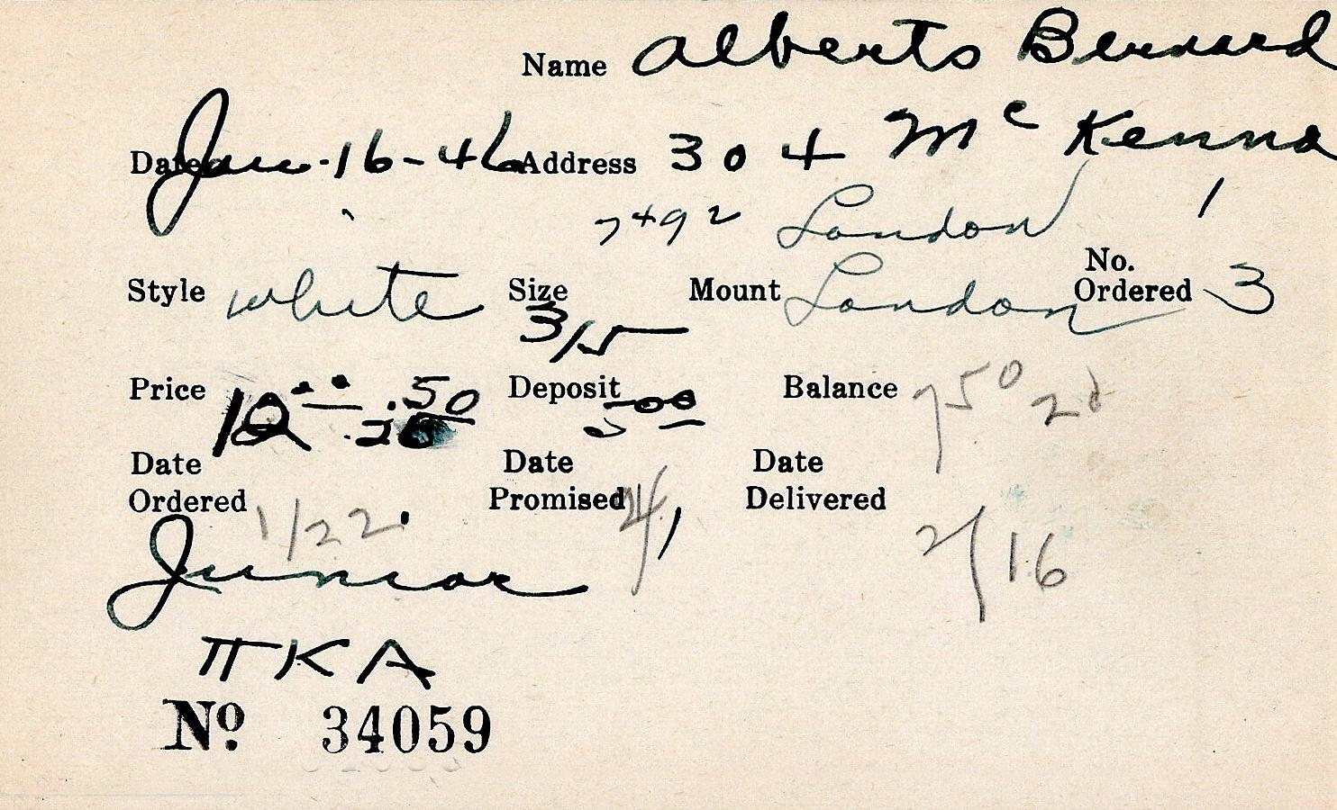 Index card for Bernard Alberts