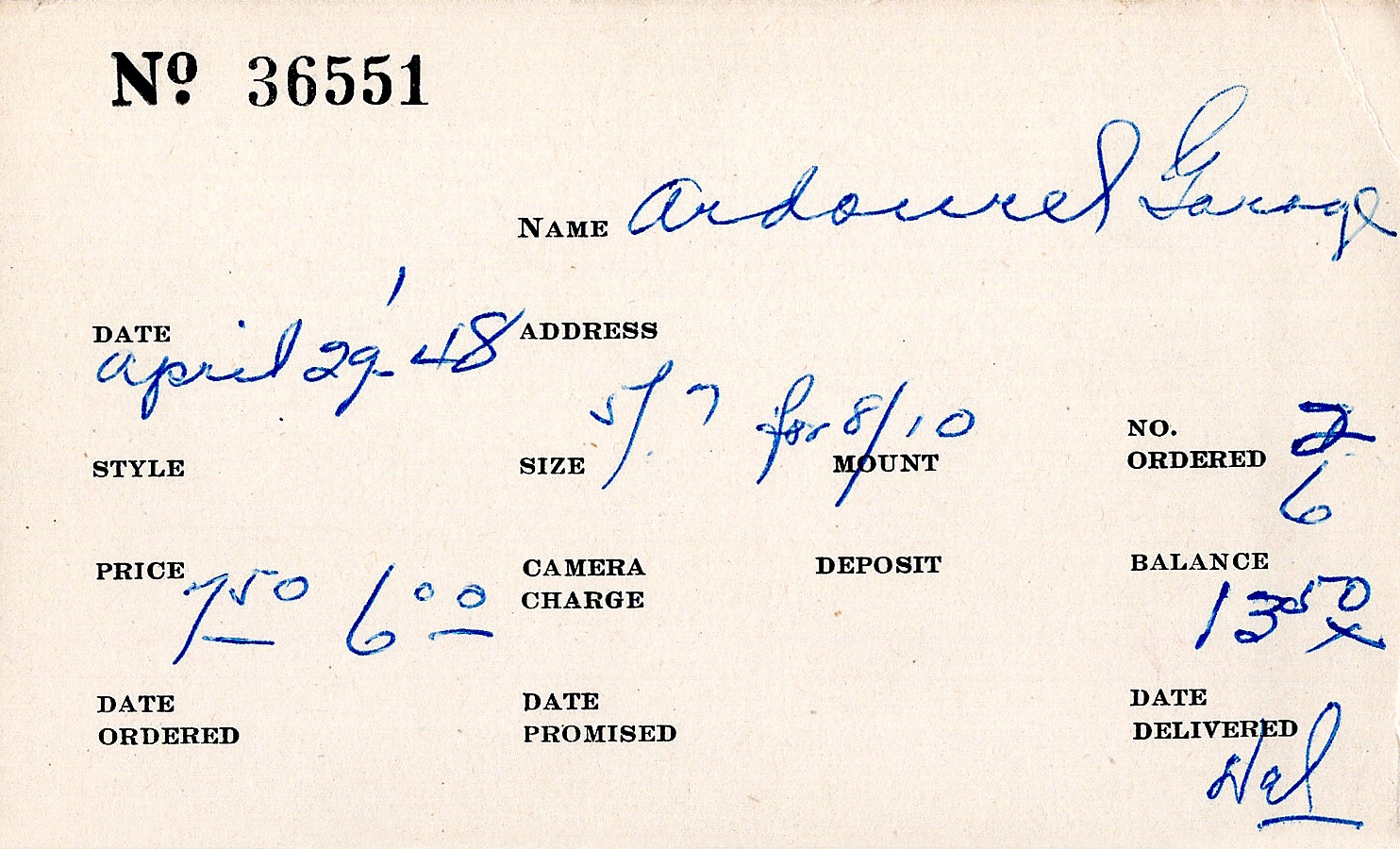 Index card for G[eorge?] Ardourel