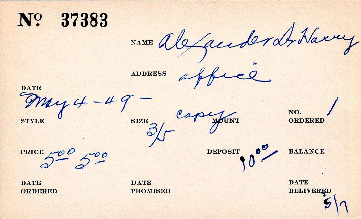 Index card for Harvey Alexander