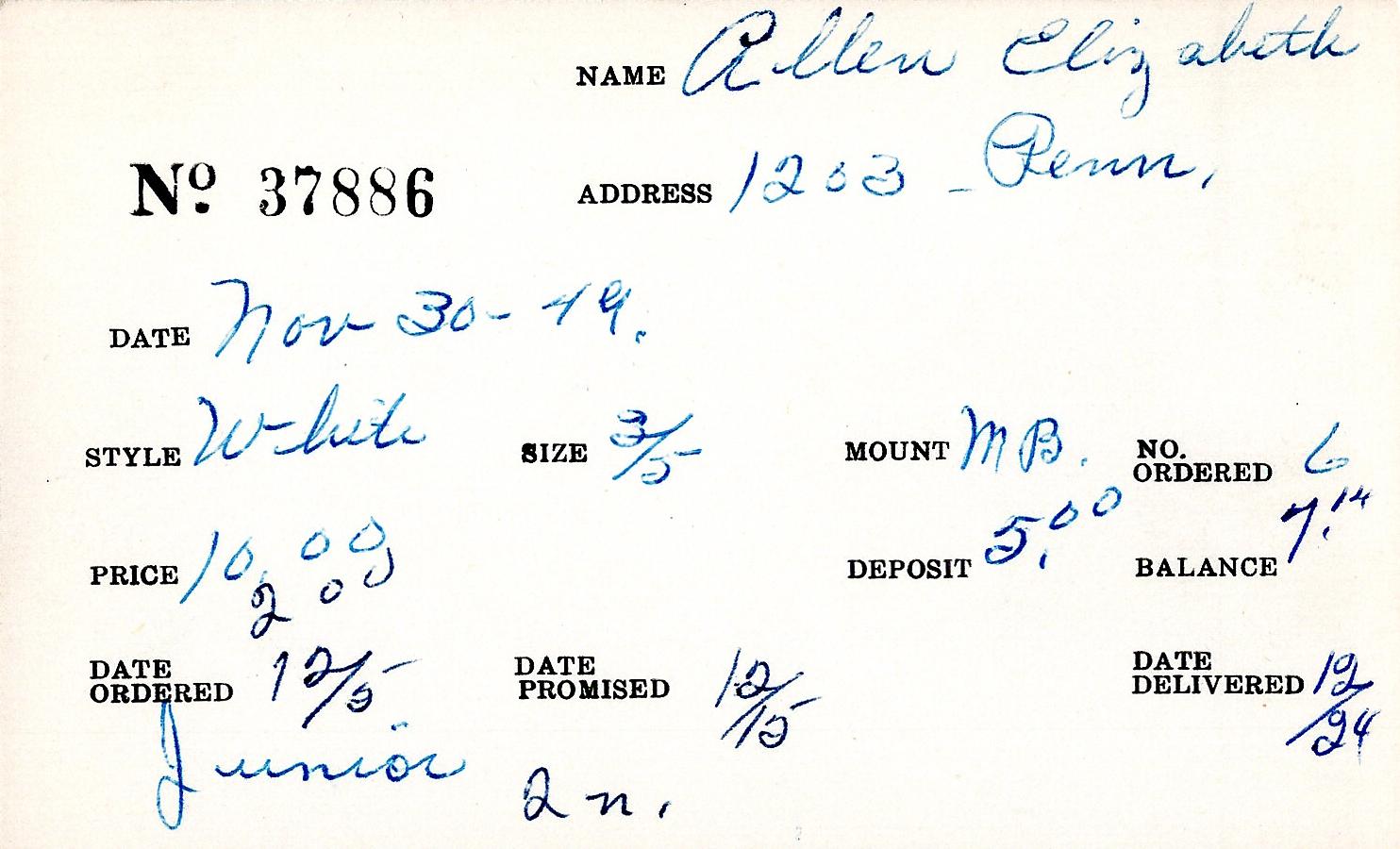 Index card for Elizabeth Allen