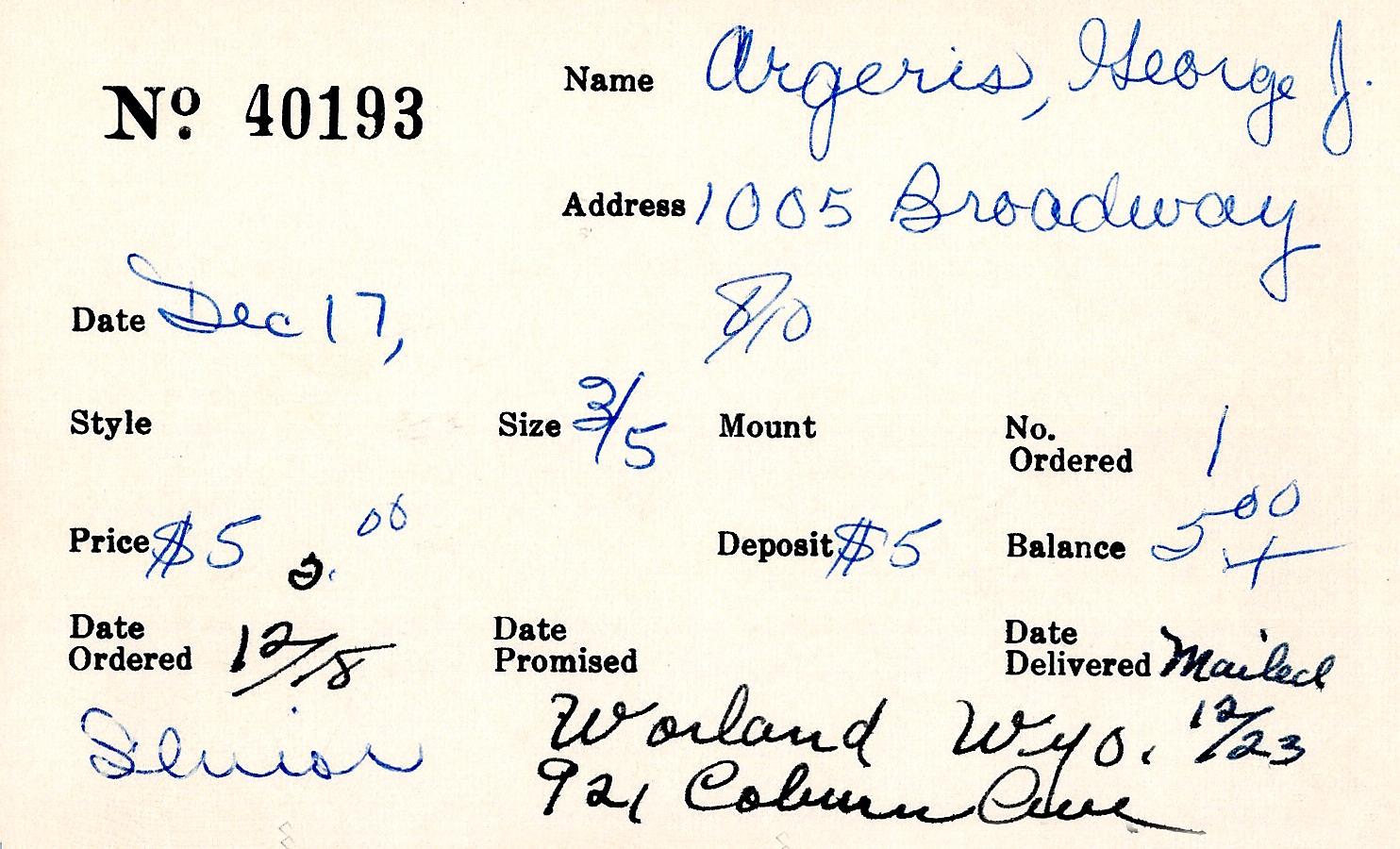 Index card for George J. Argeris
