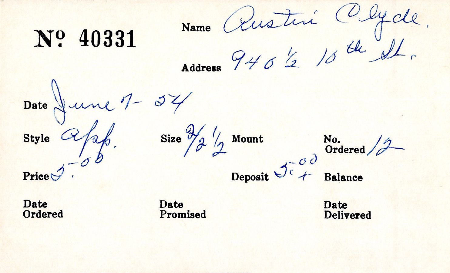 Index card for Clyde Austin