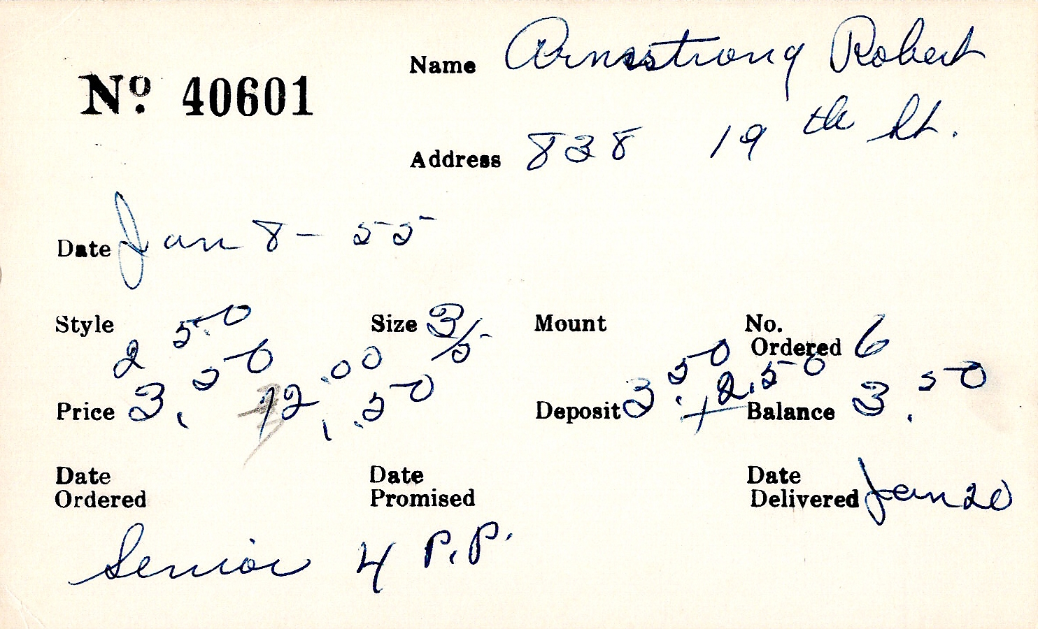 Index card for Robert Armstrong