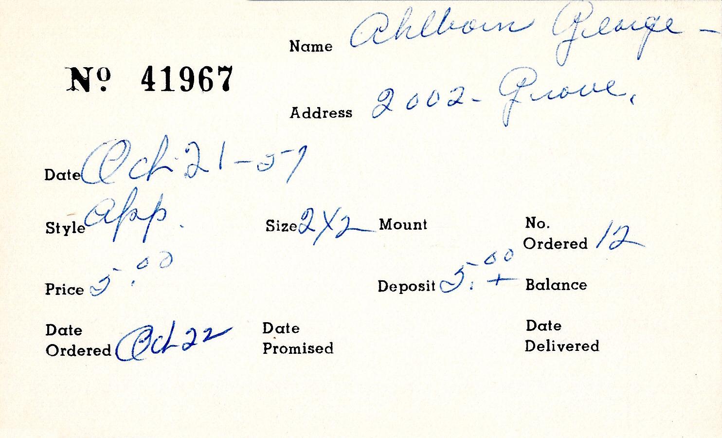 Index card for George Ahlborn