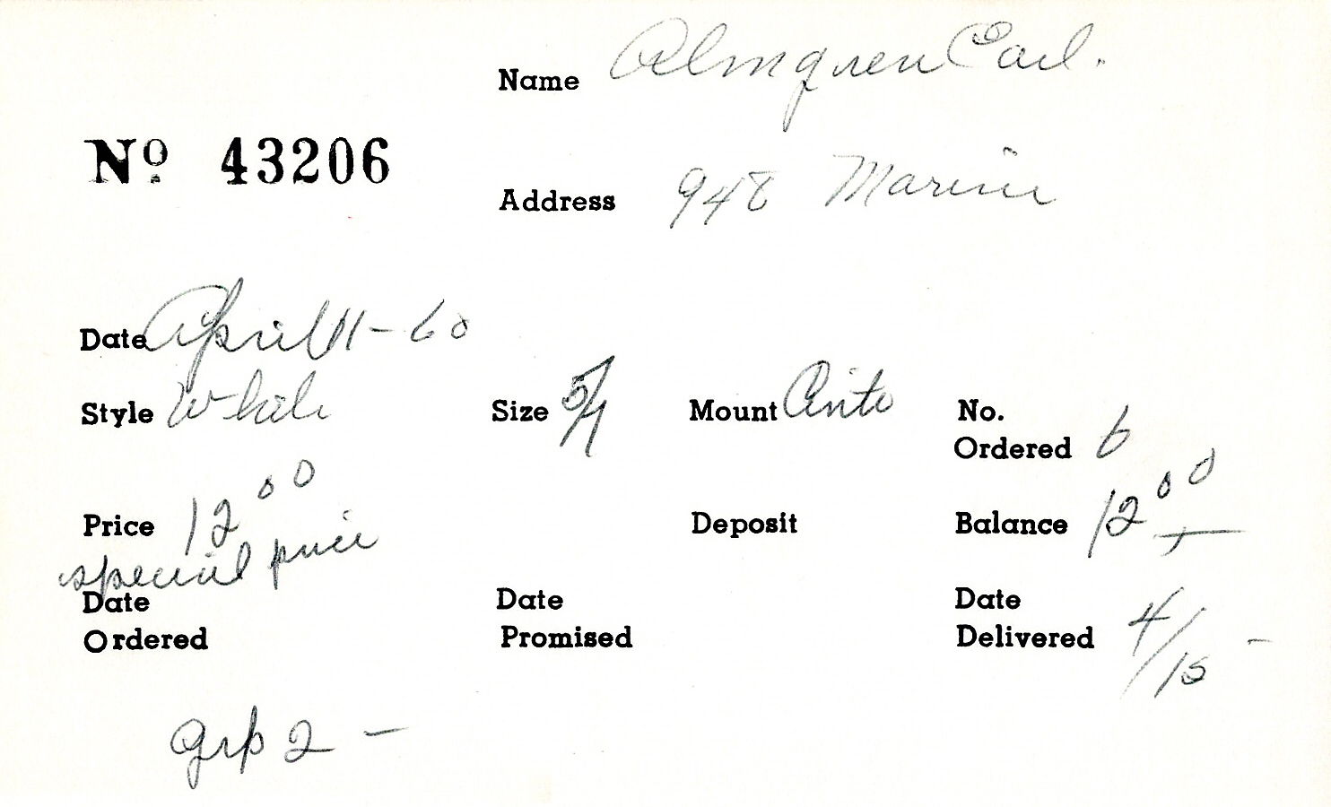 Index card for Earl Almgren