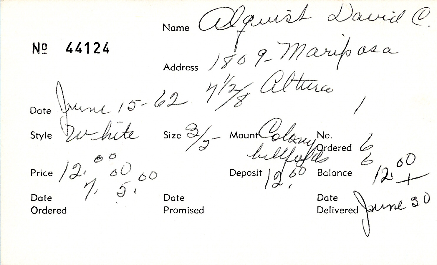 Index card for David C. Alquist