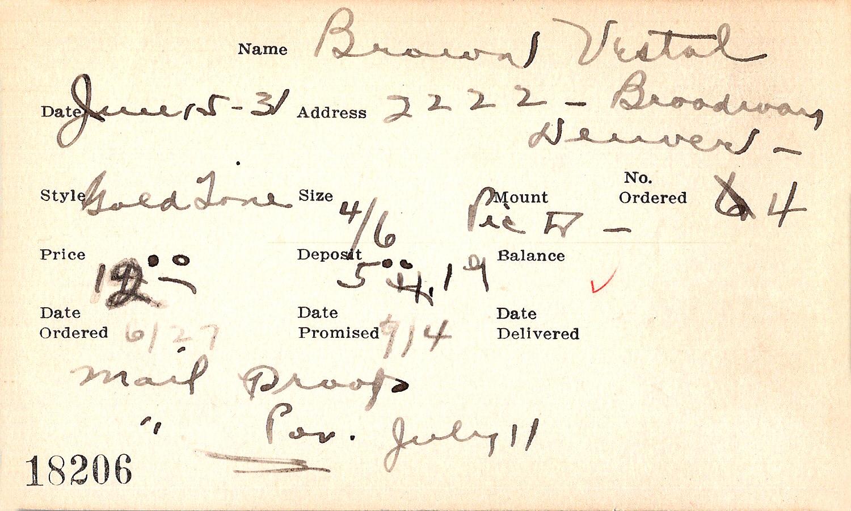 Index card for Vestal Brown