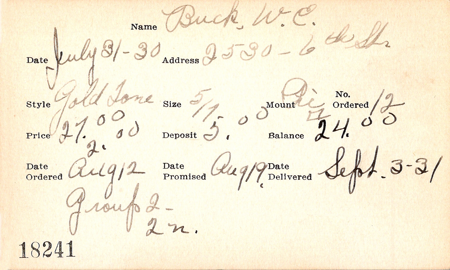 Index card for W. E. Buck